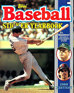 Baseball Sticker Yearbook 1988
