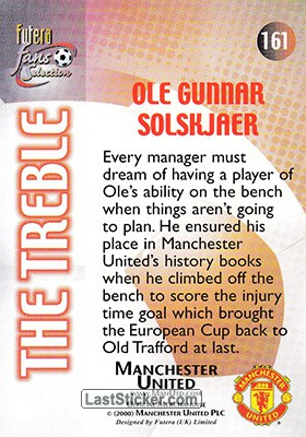 Ole Gunnar Solskjaer (The Treble) - Back