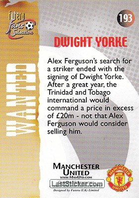 Dwight Yorke (Wanted) - Back