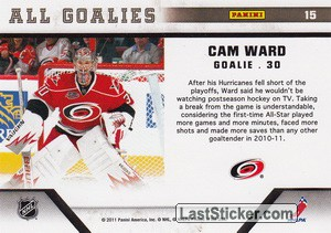 Cam Ward (Carolina Hurricanes) - Back