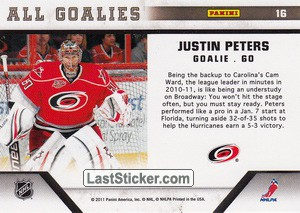 Justin Peters (Carolina Hurricanes) - Back