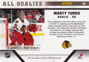 Marty Turco (Chicago Blackhawks) - Back