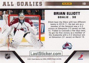 Brian Elliott (Colorado Avalanche) - Back