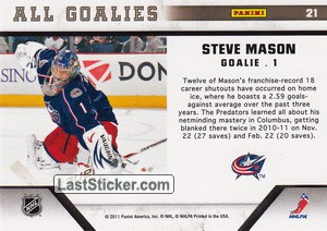 Steve Mason (Columbus Blue Jackets) - Back