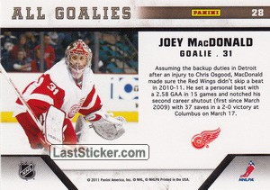 Joey MacDonald (Detroit Red Wings) - Back