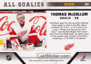 Thomas McCollum (Detroit Red Wings) - Back
