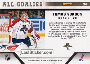 Tomas Vokoun (Florida Panthers) - Back