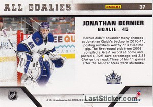 Jonathan Bernier (Los Angeles Kings) - Back