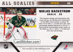 Niklas Backstrom (Minnesota Wild) - Back