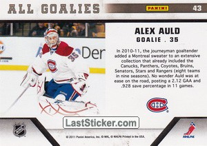 Alex Auld (Montreal Canadiens) - Back
