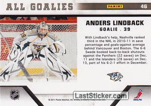 Anders Lindback (Nashville Predators) - Back