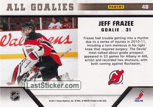 Jeff Frazee (New Jersey Devils) - Back