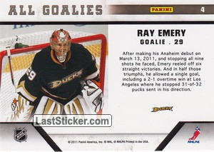 Ray Emery (Anaheim Ducks) - Back