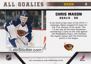 Chris Mason (Atlanta Thrashers) - Back