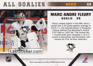 Marc-Andre Fleury (Pittsburgh Penguins) - Back