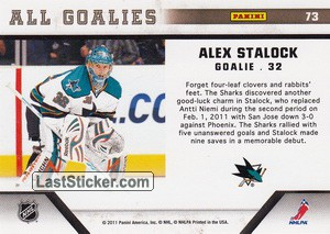Alex Stalock (San Jose Sharks) - Back