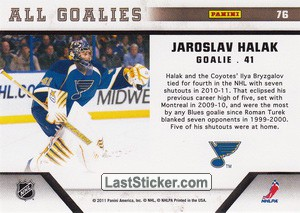 Jaroslav Halak (St. Louis Blues) - Back