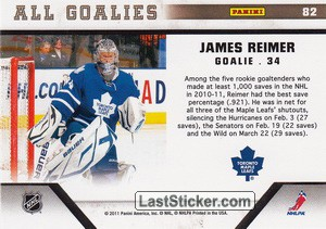 James Reimer (Toronto Maple Leafs) - Back