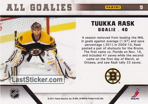 Tuukka Rask (Boston Bruins) - Back