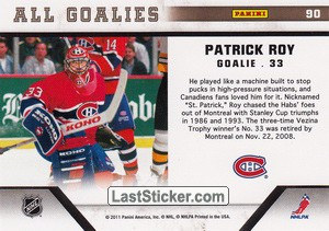 Patrick Roy (Montreal Canadiens) - Back