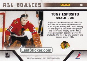 Tony Esposito (Chicago Blackhawks) - Back
