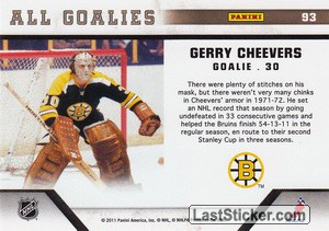 Gerry Cheevers (Boston Bruins) - Back