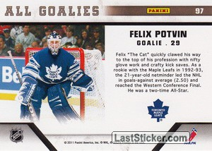 Felix Potvin (Toronto Maple Leafs) - Back