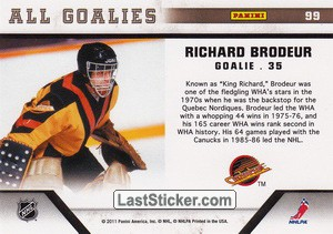 Richard Brodeur (Vancouver Canucks) - Back