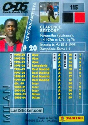 Clarence Seedorf (Milan) - Back