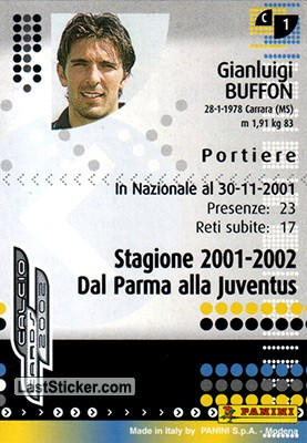 G. Buffon (Parma) - Back