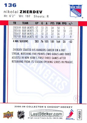 Nikolai Zherdev (New York Rangers) - Back