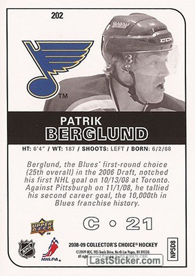 Patrik Berglund (St. Louis Blues) - Back