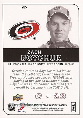 Zach Boychuk (Carolina Hurricanes) - Back