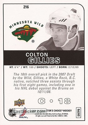 Colton Gillies (Minnesota Wild) - Back