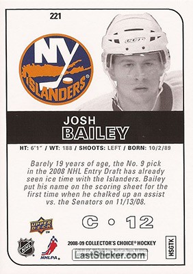 Josh Bailey (New York Islanders) - Back