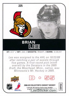 Brian Lee (Ottawa Senators) - Back