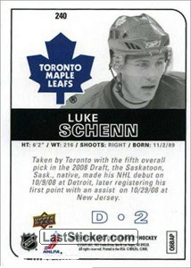 Luke Schenn (Toronto Maple Leafs) - Back