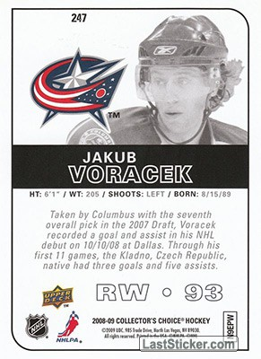 Jakub Voracek (Columbus Blue Jackets) - Back