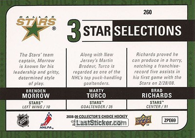 Marty Turco / Brad Richards / Brenden Morrow (Dallas Stars) - Back