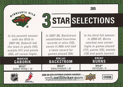 Marian Gaborik / Brent Burns / Niklas Backstrom (Minnesota Wild) - Back
