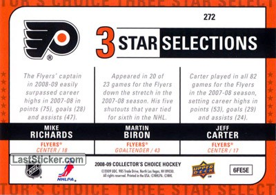 Martin Biron / Jeff Carter / Mike Richards (Philadelphia Flyers) - Back