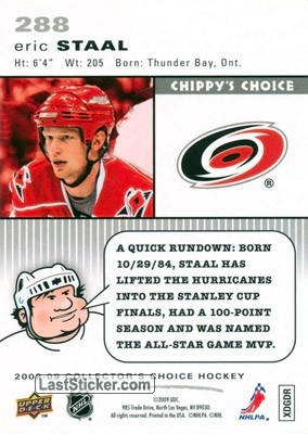Eric Staal (Carolina Hurricanes) - Back