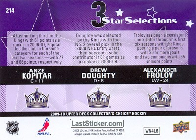 Anze Kopitar / Drew Doughty / Alexander Frolov (Los Angeles Kings) - Back