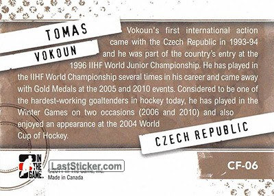Tomas Vokoun (Their Country's Finest) - Back