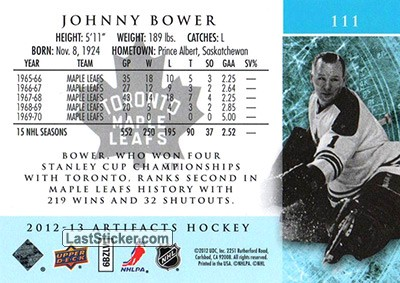 Johnny Bower (Toronto Maple Leafs) - Back