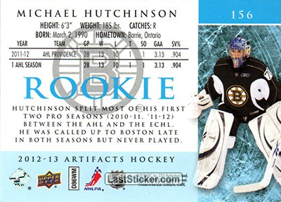 Michael Hutchinson (Boston Bruins) - Back