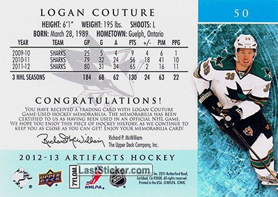 Logan Couture (San Jose Sharks) - Back