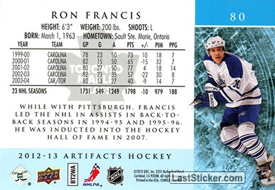 Ron Francis (Toronto Maple Leafs) - Back
