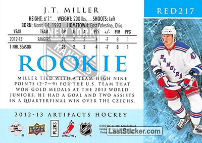 J.T. Miller (New York Rangers) - Back