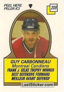Guy Carbonneau - Frank J. Selke Trophy Winner (1987-88 Leaders)